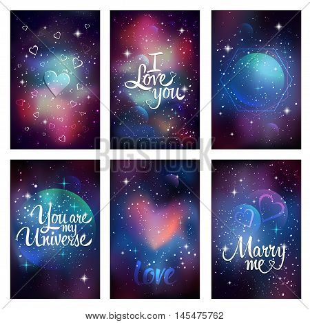 Cosmic greeting card. Flyer design template with lettering - Ilove you, You are my universe, Marry me. Sacred geometry, stars and planet. Vector eps 10