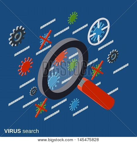 Computer security, virus search, antivirus, data protection, spyware flat isometric vector concept