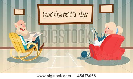 Grandmother And Grandfather Best Granny Grandpa Grandparents Day Greeting Card Flat Vector Illustration