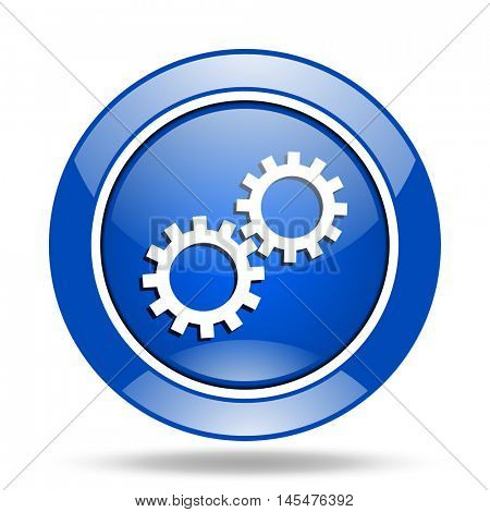 Blue round glossy vector cogwheel web icon