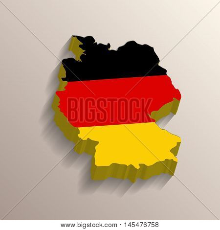 3D like picture of Germany territory with its flag on background