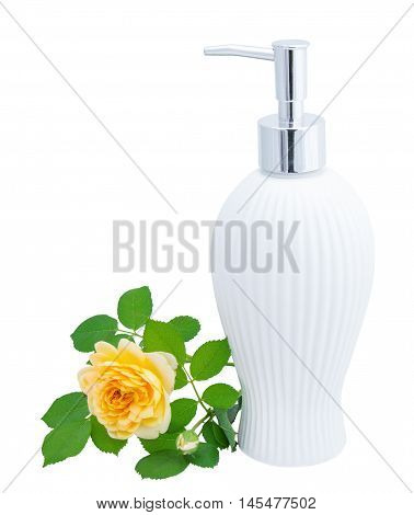 Soap dispenser in vintage style. Isolated on white background