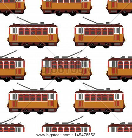 Lovely retro vector detailed tram car, side view, isolated, seamless Ideal for urban lifestyle, touristic and sightseeing graphic and web design