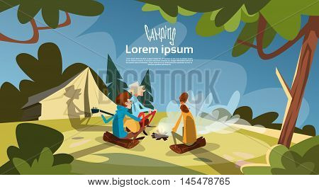 Tent Camping Tourist Group Sit Near Fire Forest Mountain Expedition Flat Vector Illustration