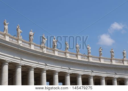 Statues and columns of the Saint Peter Square in the Vatican