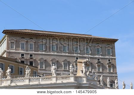 Building and statues of the Saint Peter Square in the Vatican