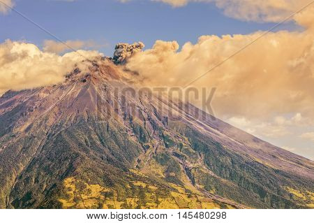 Large Ash Cloud Rising From Tungurahua Volcano Cordillera Occidental Of The Andes Of Central Ecuador South America