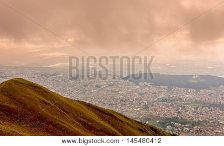 Aerial View Of Quito On A Cloudy Day Ecuador South America