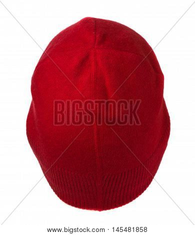 Red Knitted  Beanie Isolated On White Background