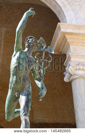Statue of Mercury in the villa Medici in Rome
