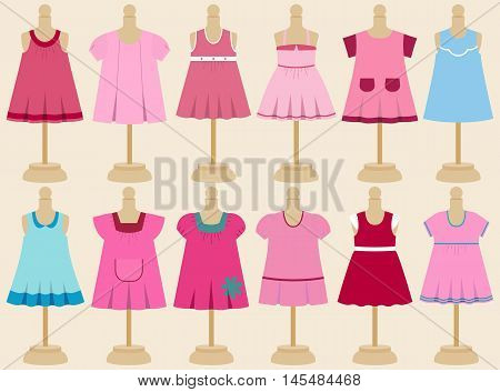 Set of children's dresses for girls on mannequins. Vector illustration.