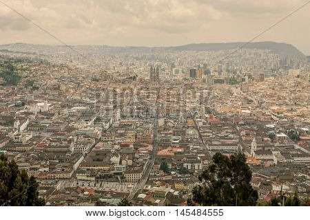 Aerial View Of The Basilica Del Voto Nacional In Quito Ecuador South America