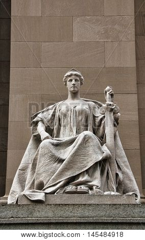Allegorical figure of Justice on the Indianapolis post office. Beaux Arts style building, finished in 1905