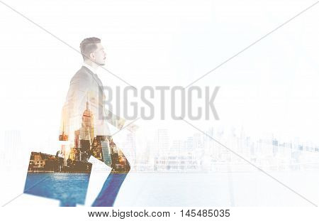 Businessman Ascending Career Ladder