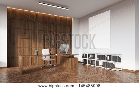 Ceo Office With Wooden Wall And Poster
