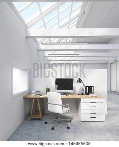 White Office In Attic
