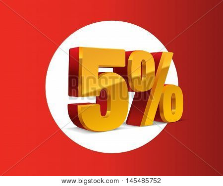 5% percent off, sale background, red-golden-yellow object 3D. Eps10 Vector.