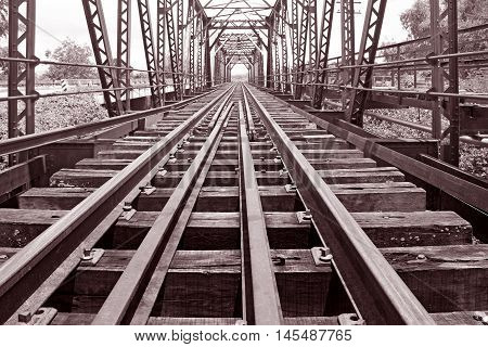 Railroad bridge in thailand Sepia color effect vintage style