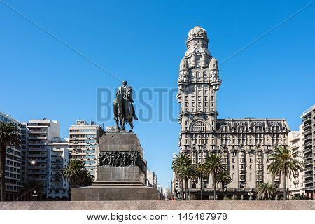 Montevideo Uruguay - August 22 2016: Salvo Palace on the Independence Square a national icon renovated for the season