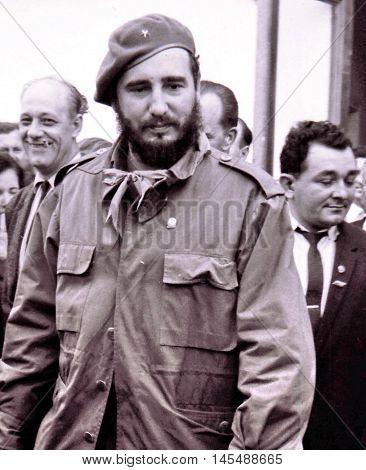 Yangiyer Uzbekistan - May 10 1963: The Fidel Castro Ruz.