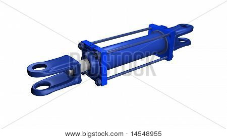 blue hydraulic cylinder