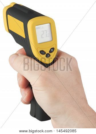 Infrared non-contact digital thermometer with laser sight in man hand. Object is isolated on white background without shadows