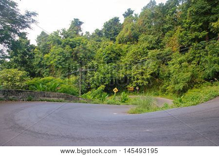 steep mountain road in the jungle on Ko Chang, Thailand