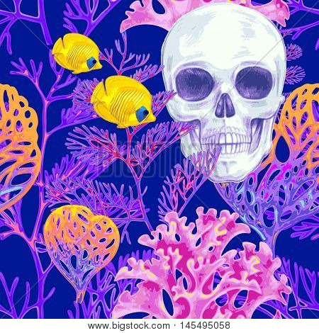 Illustration of the seabed with a skull exotic fish and corals. Vector. Seamless background for textile fabric paper wallpaper.