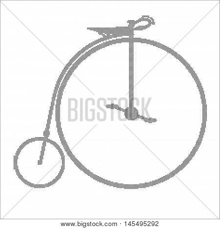 A typical penny farthing bicycle in halftone over a white background.