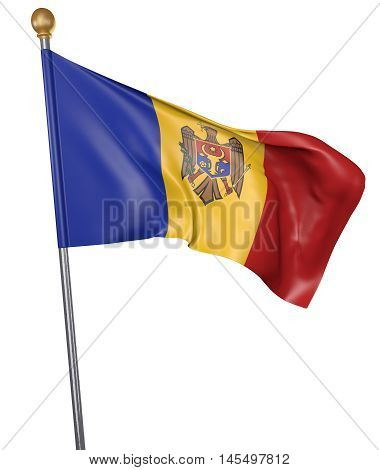 National flag for country of Moldova isolated on white background, 3D rendering