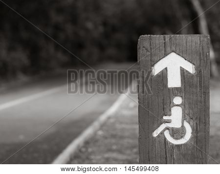 Black And White Handicapped Road In The Public Park