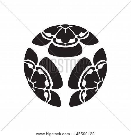 Flowers melon survival symbol in Japan. Vector illustration