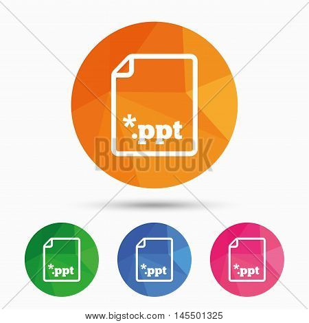 File presentation icon. Download PPT button. PPT file extension symbol. Triangular low poly button with flat icon. Vector