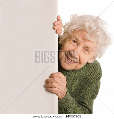 The Old Woman Spies Isolated On White Background