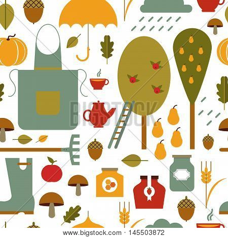 Vector autumn seamless pattern. Vector background. Autumn template. Use for wallpaper pattern fills web page background