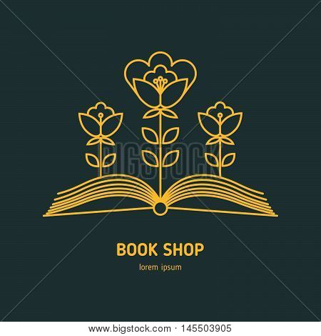 Vector icon of outline education logo. Trendy emblem and design element for courses classes library bookstore and schools