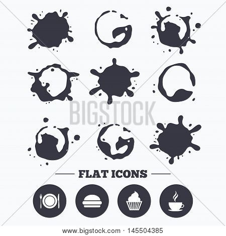 Paint, coffee or milk splash blots. Food and drink icons. Muffin cupcake symbol. Plate dish with fork and knife sign. Hot coffee cup and hamburger. Smudges splashes drops. Vector