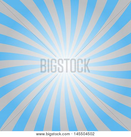 Blue gray rays poster. Popular ray star burst background television vintage. Dark-light abstract texture with sunburst flare beam. Retro sunbeam art design. Glow bright pattern. Vector Illustration