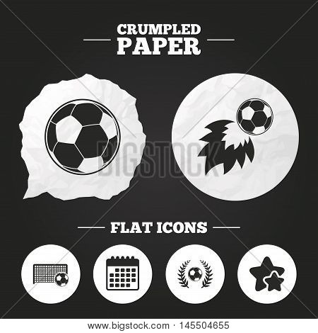 Crumpled paper speech bubble. Football icons. Soccer ball sport sign. Goalkeeper gate symbol. Winner award laurel wreath. Goalscorer fireball. Paper button. Vector