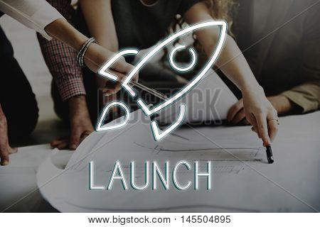 Business Srat up Goals Rocketship Graphic Concept