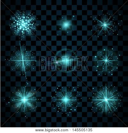 Blue shine stars with glitters sparkles icons set. Effect twinkle glare scintillation element sign graphic light. Transparent design elements dark background. Varied template. Vector illustration