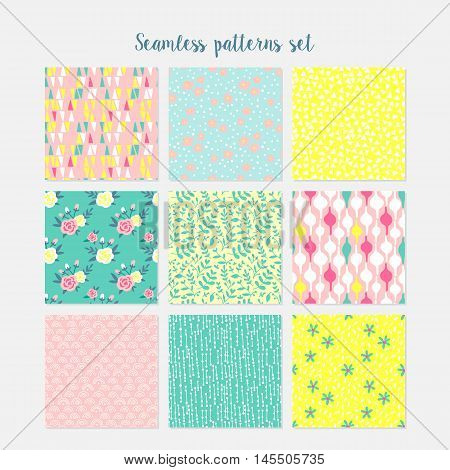 Abstract Seamless Pattern Cards Set For Journaling. Hand Drawing Vector Illustration