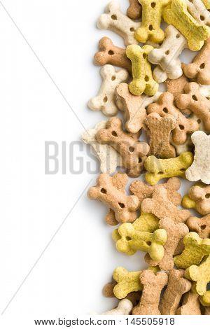 Dog food shaped like bones isolated on white background.