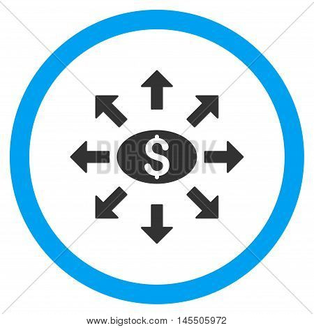 Mass Cashout vector bicolor rounded icon. Image style is a flat icon symbol inside a circle, blue and gray colors, white background.
