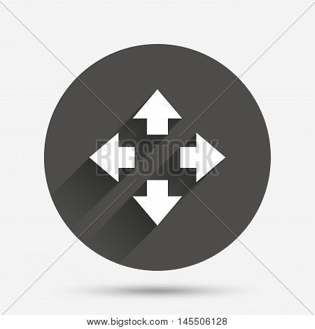 Fullscreen sign icon. Arrows symbol. Icon for App. Circle flat button with shadow. Vector