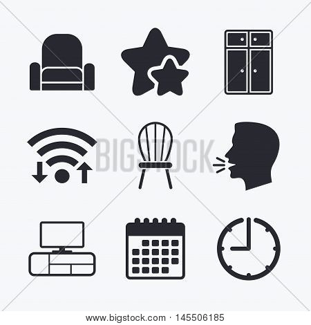 Furniture icons. Cupboard, chair and TV table signs. Modern armchair symbol. Wifi internet, favorite stars, calendar and clock. Talking head. Vector