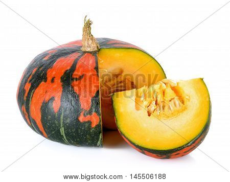 Striped Pumpkin Isolated On The White Background