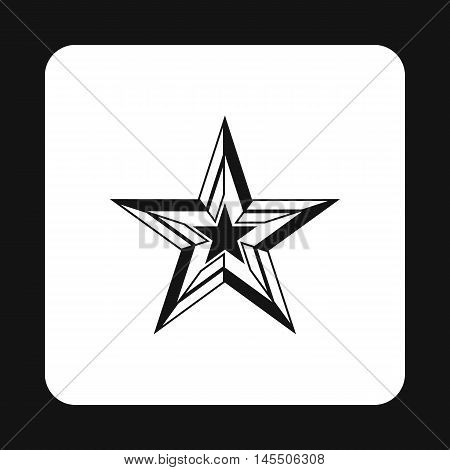 Five pointed star icon in simple style isolated on white background. Figure symbol