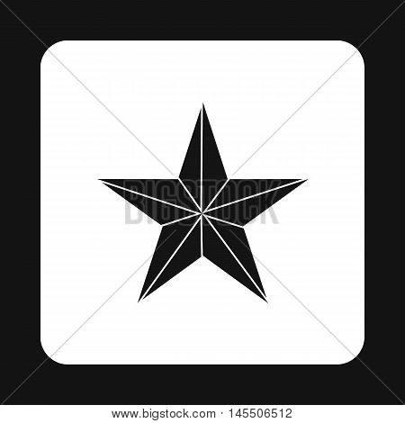 Black star icon in simple style isolated on white background. Figure symbol