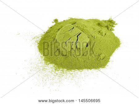 Green Tea Powder Isolated On White Background